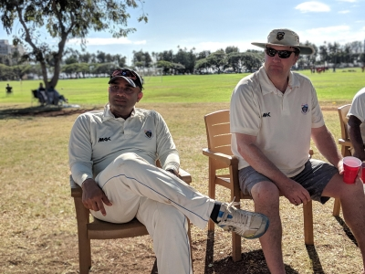 2nd XI Captain Manesh Sharma (left)               and Club President Nick Lynam (right)